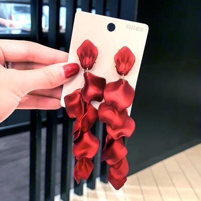 2020 S925 Pin Nouveau mode gros bijoux en alliage long Tassel cristal rouge Roseleaf Boucles d'oreilles Pendentif