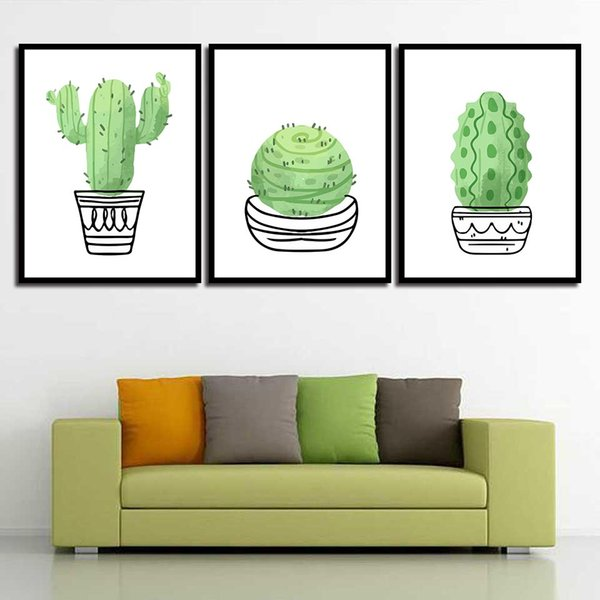 Minimalism Art Prints Green Cactus Simple Nordic Poster Canvas Painting HD Wall Pictures Living Room Kids Room Home Decor