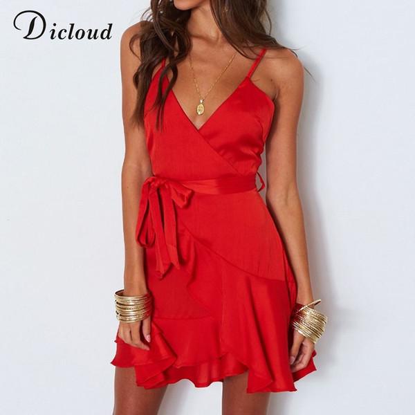 Dicloud vestido de festa de cetim vermelho mulheres de verão sem encosto sexy v pescoço mini vestido de praia branco ocasional streetwear vestido de Natal # 395392