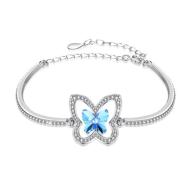 Lovely Designed Bracelet Sterling Silver Butterfly Pattern Invisible Setting Mosaic Sky Blue Crystal Bracelet Women Christmas Gift POTALA236