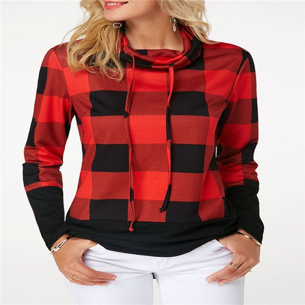 Fashion Casual Loose Plaid Women Hoodies Ladies Sweatshirts Oversize Pullover Tops Long Sleeve Autumn Clothes Plus Size