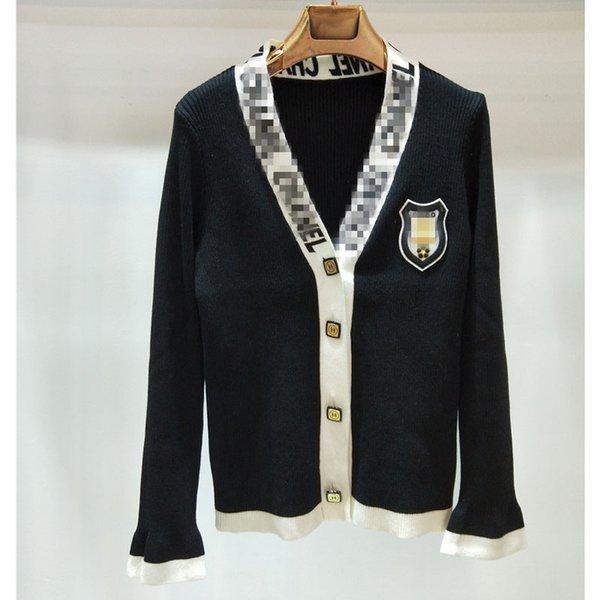 Frauen Strickjacken Casual Womens Brand Designer Pullover Jacke Luxus Kleine Duft Schwarz und Weiß Strickjacke Mantel