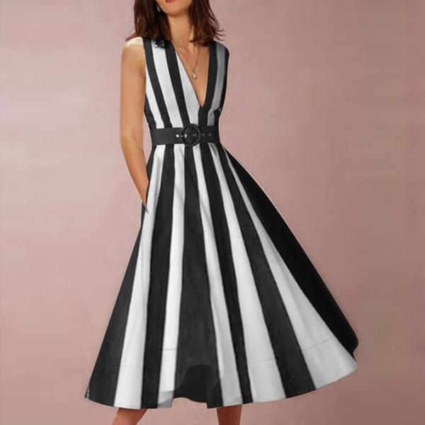 Europe and the United States best selling deep V-neck waist sleeveless cardigan pocket striped ladies dress