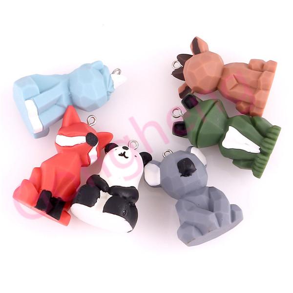 5PCS mode Panda Cartoon grenouille couple animal en forme de voiture Keychain charme cadeau pour la voiture porte-clés fille Femmes Hommes Sac Bijoux pour animaux Keyring