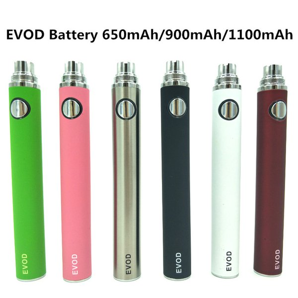 High Quality Evod Battery Vaporizer Vape Pen Ecig 650mAh 900mAh 1100mAh 510 Thread Battery For MT3 Atomizer Electronic Cigarettes DHL Free