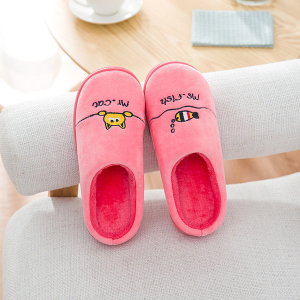 2018 Drop shipping Women's Fuzzy Pink and light blue dog plush cotton Slippers GB22