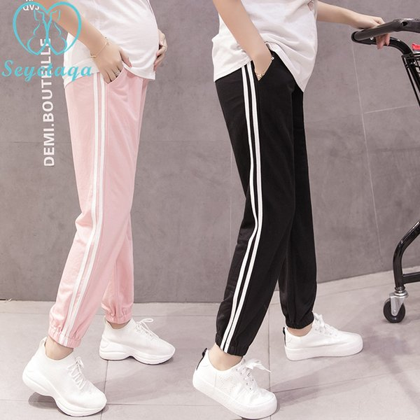 pick up sold worldwide 100% original 2019 1028# Spring Summer Fashion Maternity Jogger Pants Elastic Waist Belly  Pants Clothes For Pregnant Women Thin Pregnancy Trousers From Cornemiu, ...