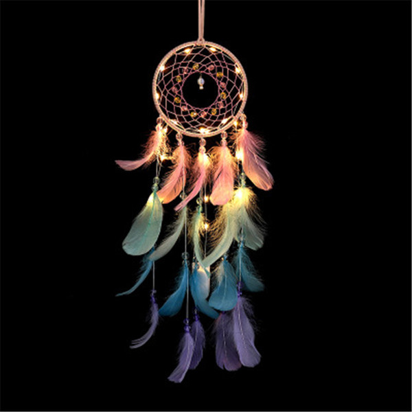 best selling LED Feather Dreamcatcher Girl Catcher Network LED Light Dream Catcher Bed Room Hanging Ornament Cartoon Accessories INS pendant