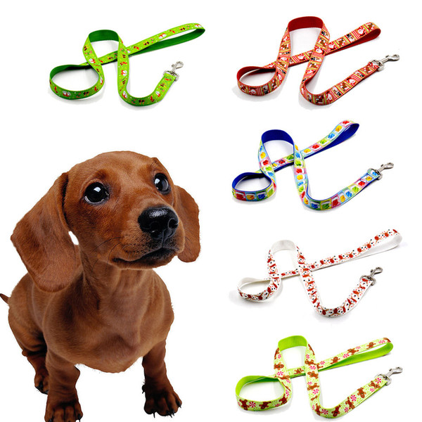 2019 new Christmas pet dog leash rope leash belt multiple color pattern white antler red snowman blue hat dog collar