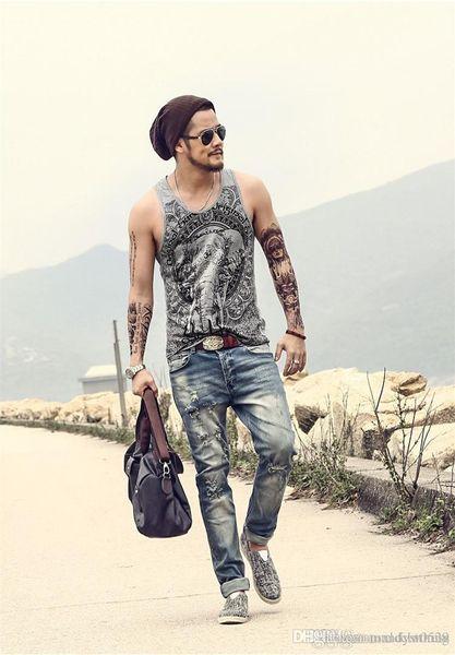 Grey Men Tank Top Casual Fitness Singlets Brand Mens T-Shirt Sleeveless Gasp Hip Hop Vest Elephant Print Cotton undershirt