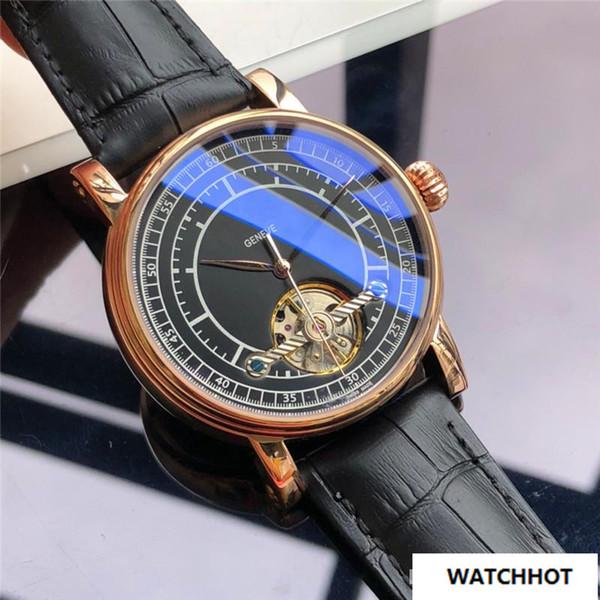 eca628f2041 Luxo Mens Relógios 42mm Caixa De Aço Inoxidável Pulseira de Couro Genuíno  Preto do Volante Mecânico