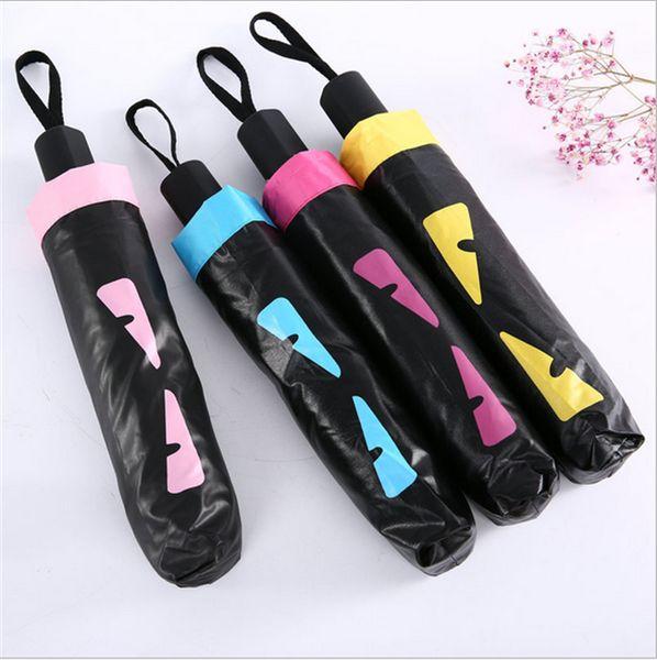 top popular Cute Little Monster Designer Umbrella Windproof UV Resistant Folding Automatic Umbrella Cartoon Double Layer Vinyl Sunny Rain Umbrella B7101 2019
