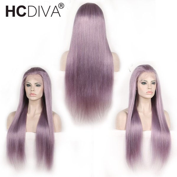 Pre Colored Purple Human Hair Wigs 13x4 Lace Frontal Wigs 150% Density Brazilian Straight Hair Long Lace Wig 10-24 Inches HCDIVA Hair