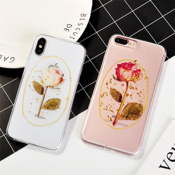 Caja del teléfono de la flor de Rose de la hoja de oro del vintage para el iPhone X XR XS Casos máximos del silicón para el iphone 6 6s 7 8 más regalo