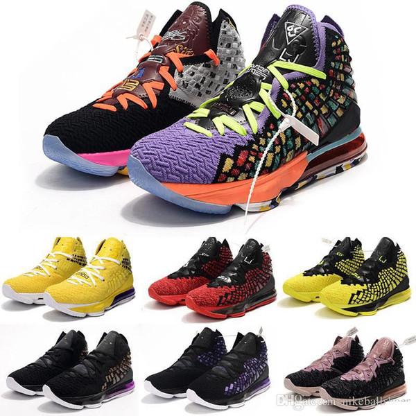 mens pas cher de nouveaux lebron 17 chaussures de basket-ball à vendre Violet jaune phosphorescent noir MVP des femmes des enfants de jeunes de james tennis