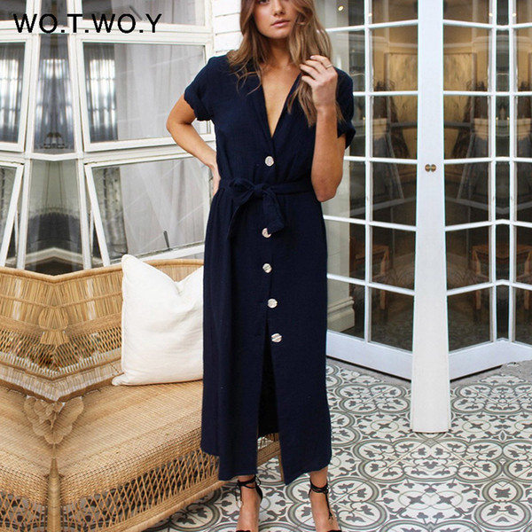 Wotwoy 2019 Sashes Summer Long Ankle-length Dresses Women Cotton White Sexy V-neck Straight T Shirt Dress Woman Loose Clothes J190511