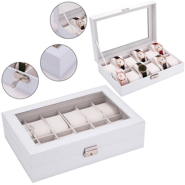 Locked Watch Box 12 Slots Watch Case for Men Women Leather Watch Jewelry Organizer Holder Display Storage Case with Glass Lid