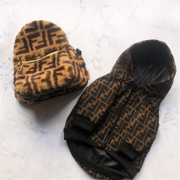 Tide Brand Pets Coats Fashion Letter Pattern Pet Thicken Jackets Winter Fall Windproof Schnauzer Costumes Apparel