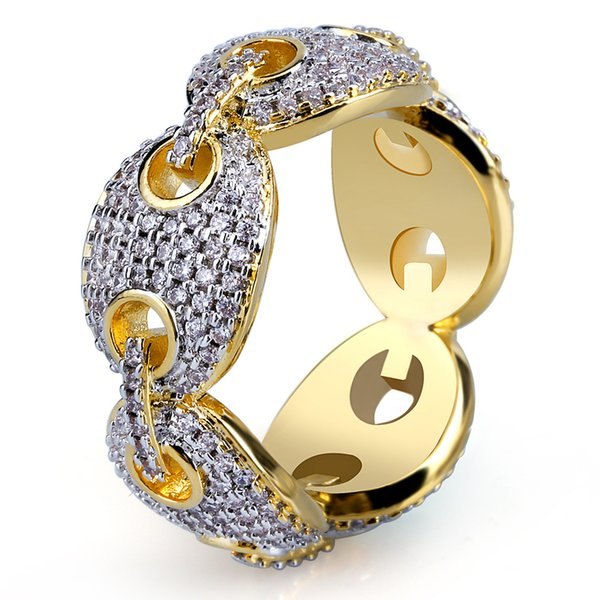 Genuine gold plated micro set zircon men's ring hot style hip hop hipster gem ring accessories