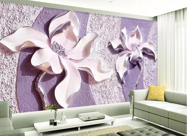 Carte da parati moderne viventi del salone della parete del fondo della TV della magnolia 3d porpora impresse