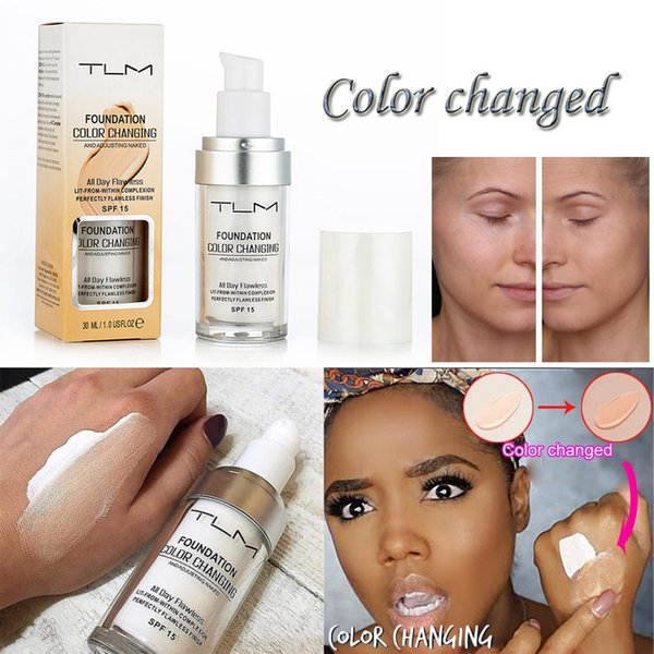 Hot Flawless Color Changing Foundation Makeup Base Nude Face Liquid Cover Concealer Long Lasting Pre Makeup Sun Block Pores Drop Shipping