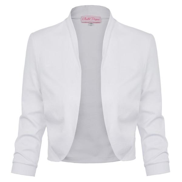 Bolero Shrug Women Casual 3/4 Sleeve Cropped Open Stitch 2018 Spring Short Stretchy Cotton Womens Coats Slim Outwear Tops Jacket
