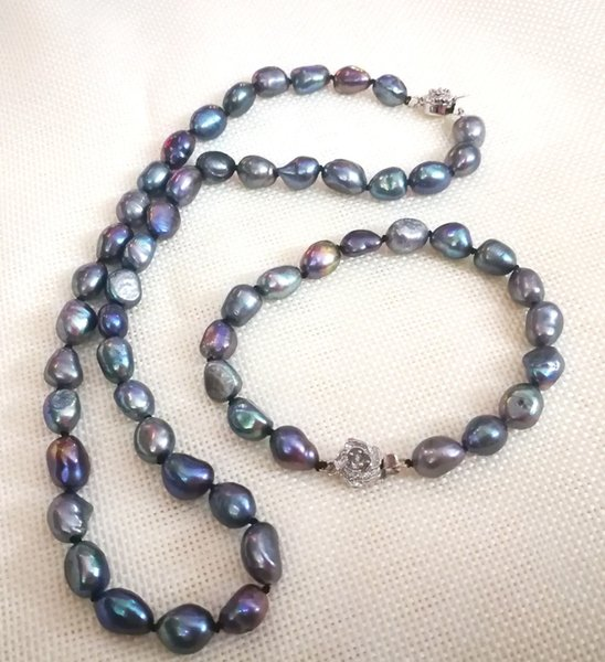 Women Jewelry set 20'' 50cm necklace 10x11mm black blue gray green baroque pearl handmade bracelet natural freshwater pearl