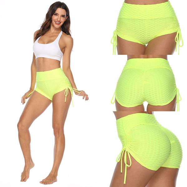 best selling Women Jacquard Yoga Shorts Ladies High Waist Tight Drawstring Sport Fitness Running Shorts Sexy Buttock Lifting Shorts