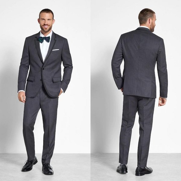Gray Tweed Handsome Wedding Tuxedos Satin Black Notched Lapel Mens Suit Formal Prom Groom Wear Clothing (Jacket+Pants)