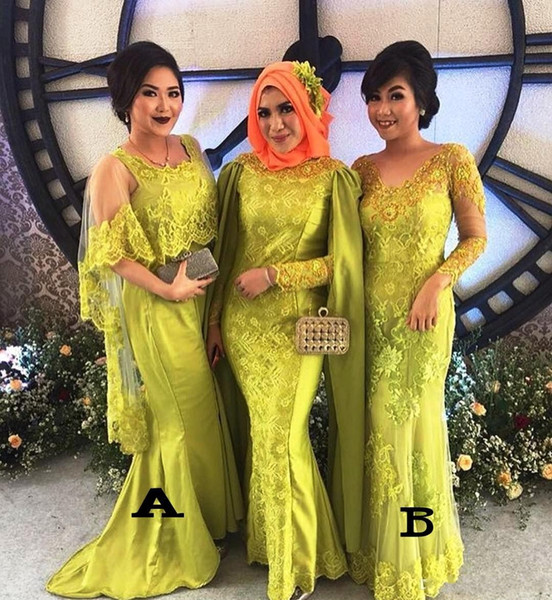 Boho Lace Arábia africanos dois estilos vestidos de dama de vestes de soirée de convidados do casamento vestido da dama de honra vestidos de baile 2019