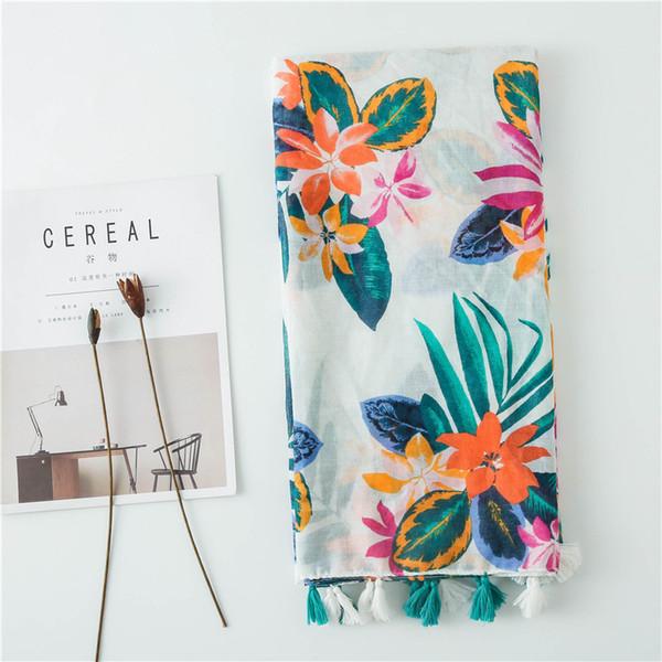 2018 nouvelle fleur d'encre peinture glands foulards châles femmes floral foulard foulard Hijab silencieux en gros 10pcs / lot livraison gratuite