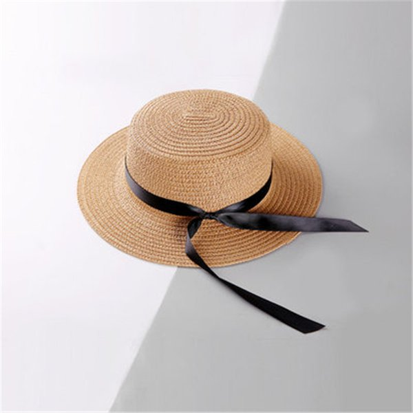 9426700175fcc Women Solid Color Knotted Ribbon Straw Hat Designer Hats Womens Outdoor  Sunscreen Beach Sun Hat Ladies