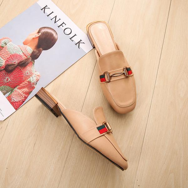 Sapatos Mulher Fechados Mocassins de Metal Decoração Low Heels Slippers Patchwork Slides Tamanho Grande Mocassins Zapatos Mujer Preto Apricot