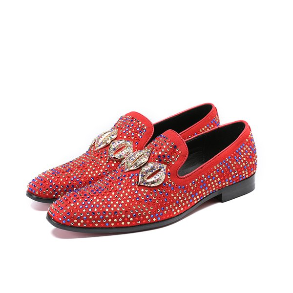 Slip On Casual Loafers Chaussures à enfiler en daim synthétisées pour hommes Red Crystals