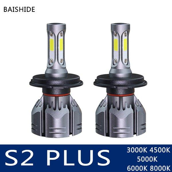BAISHIDE LED H4 H7 H11 HB4 9006 H1 H3 HB3 9005 Auto S2 além de farol do carro lâmpadas de 60W 9000LM Car Styling 6500K 4300K 8000K 5000K