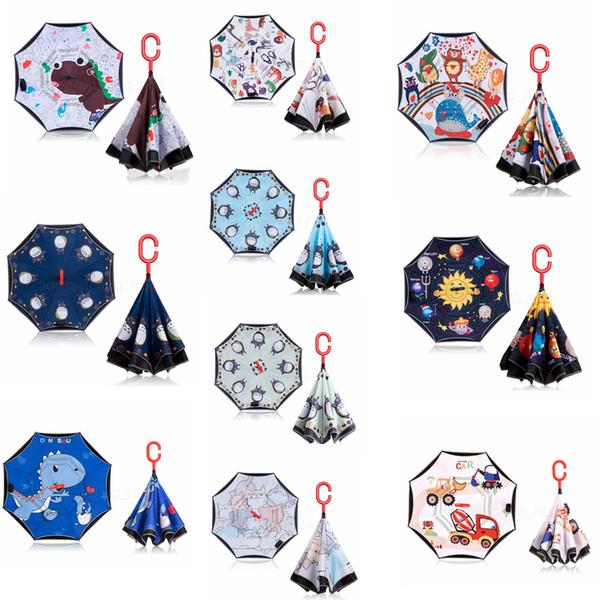 11 estilos Paraguas inversos para niños Creativos de doble capa Paraguas rompevientos al aire libre Niños de dibujos animados Animal impreso Paraguas FFA2905