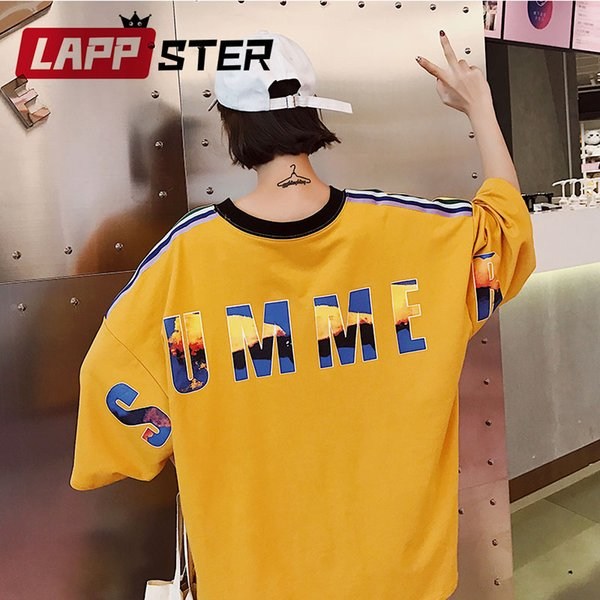 LAPPSTER Patchwork Oversized Striped T Shirt 2019 Summer Women Kawaii Korean Fashion TShirts Couple Yellow Streetwear Tops 90s