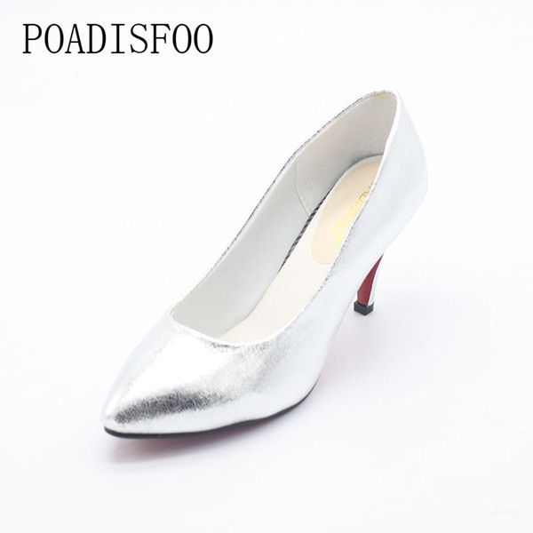 Designer Dress Shoes POADISFOO Spring, 2019 New Women's Classic Pumps for Woman Golden Sliver Color pumps thin high heels for lady .LSS-707