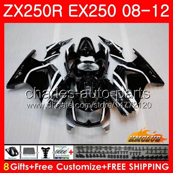 Cuerpo para KAWASAKI NINJA ZX-250R EX-250 ZX250R 08 09 10 11 12 13HC.15 ZX 250R negro brillante EX 250 EX250 2008 2009 2010 2011 2012 kit de carenado