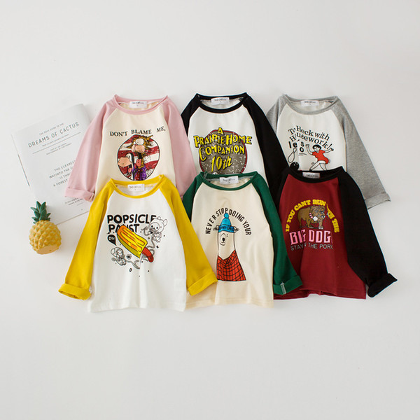WNLEIGEL girls boys autumn spring long sleeve t shirts kids cartoon printed casual tops baby all match cotton clothes children