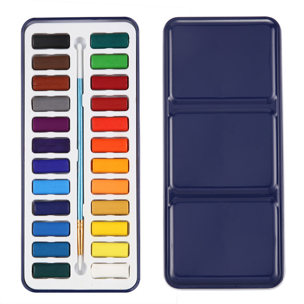 best selling 24 Watercolour Paint Set With Brush In Case Painting Water Colour Art Artist Kit