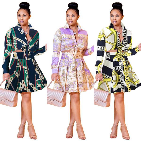 Diseñador de mujer Vestido de dos piezas Moda Cadenas doradas Patrones Vestidos Camisa de impresión de lujo Falda de cadera para ropa de mujer Tallas grandes S-3xl