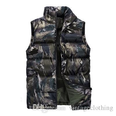Mens Winter Vest Parkas Coats Camouflage Black Colorful Warm Zipper Coats Male Fashion Winter Sleeveless Parkas