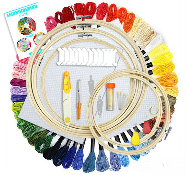 top popular Embroidery Starter Kit 50 Color Threads 5pcs Bamboo Embroidery Hoops Cross Stitch Embroidery Supplies Tool Set 2021