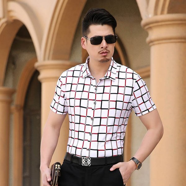 Mens Plaid Shirt Slim Fit Luxury Cotton Brand Casual Men Short Sleeve Dress Shirt Male Plus Size 7XL Cool Summer S257
