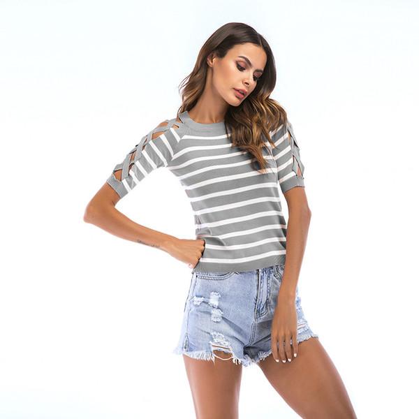 2019 nova Moda Oco Out Camisas Mulheres Verão Blusas Tops Impressão Listrada Cruz Oco-Out Design de Ombros