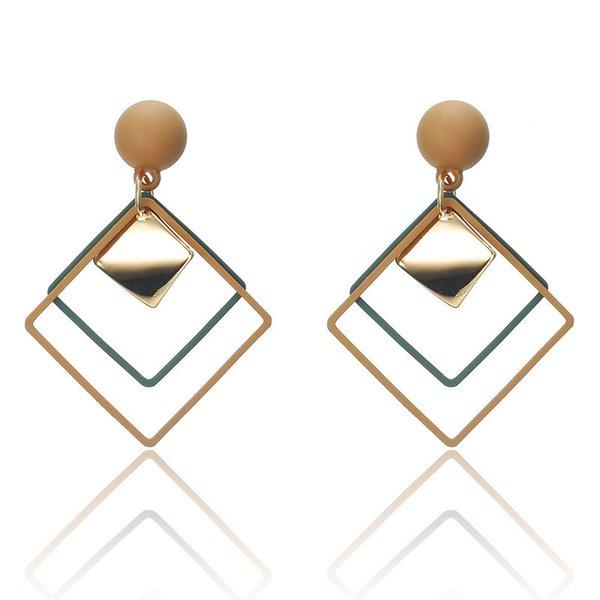 Boucles d'oreilles vintage déclaration de mode pour les femmes rétro géométrique carrée ronde Dangle Boucles d'oreilles pendantes de cadeaux de noce Noël LX