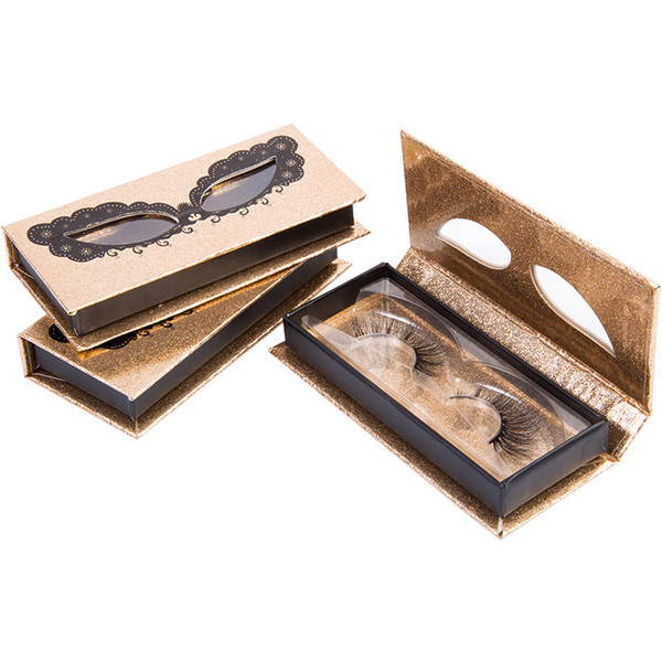 Großhandel Magnetische Leere Wimpern Verpackung Box Gold Glitter Falsche Wimpern Verpackung Box Gefälschte Wimpern Verpackung 3D Nerz Wimpern Verpackung Box