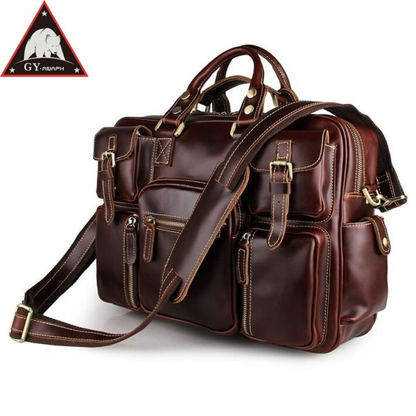 ANAPH Portfolio Leather Briefcases Men, Classic Messenger Bags 16 Inch Laptop Briefcase, Large Business Travel Male Bag In Wine #577226