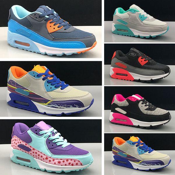 Nike air max 90 Çocuklar Sneakers Ayakkabı klasik 90 Koşu Ayakkabıları Siyah Beyaz Spor eğitmenler Bebek Kız Erkek Eğitmen Yastık Yüzey Spor Ayakkabı